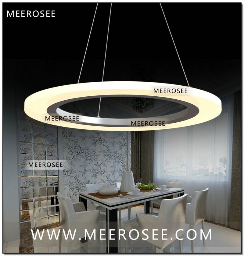 Meerosee Led Ring Chandelier Light Fixture Smd 5050 Round Acrylic Lighting Restaurant Hanging Lamp Interior Decoration Md5057 2 Rings