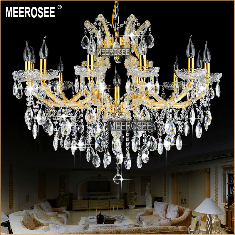 Maria Theresa Res Gold Gl Pendentes Lights 13 Lamps Incandescent Luminaire Chandelier Chrystal Lighting Fixture Living Md8477 L13
