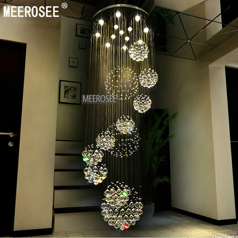 Modern Large Crystal Ceiling Light Fixture For Lobby, Staircase, Stairs,  Foyer Long Spiral Crystal Light Lustre Ceiling Lamp MD2202