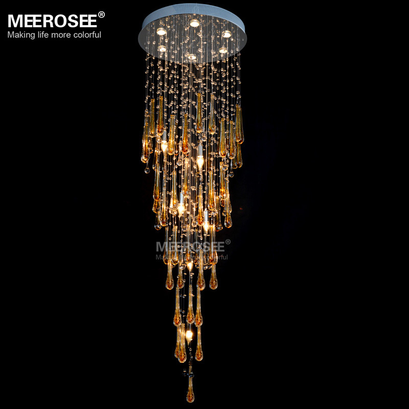MD2214 Modern Lighting Fixture Long Crystal Chandelier Lamp Stairs Light 4