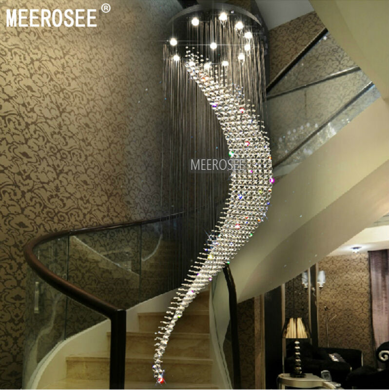 Large Spiral Crystal Ceiling Light Fixture Big Res De Cristal Fitting Villa Lamp For Staircase Hallway Lobby M2211