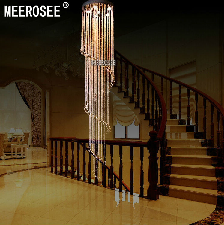 Meerosee spiral crystal light fixture long crystal chandelier light spiral crystal light fixture long crystal chandelier light lustre de cristal for staircase stairs foyer crystal stair lamp md2215 aloadofball Choice Image