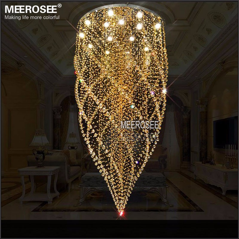 Large Crystal Ceiling Lights Fixture Amber Crystal Light Lustre De Cristal  Lamp For Stair, Staircase With GU10 Bulbs Dia 800mm MD2333